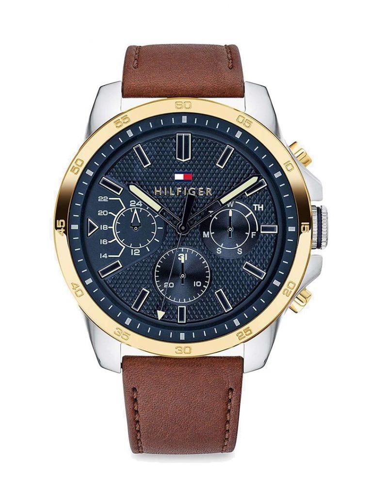Tommy Hilfiger 1791561 Men's Decker Chronograph Leather Strap Watch
