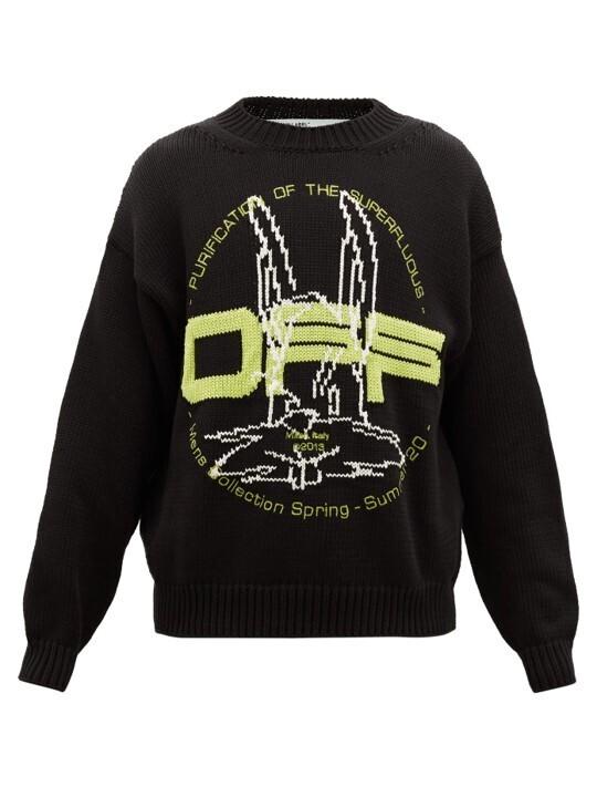 Off-White Logo-Jacquard Cotton Blend Sweater