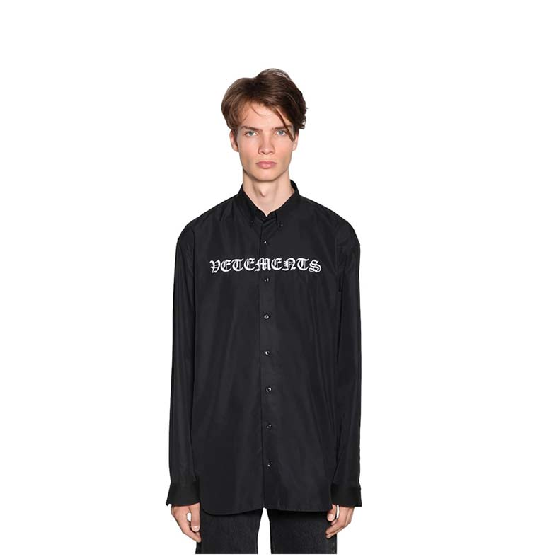Vetements Gothic Logo Embroidered Poplin Shirt, £530