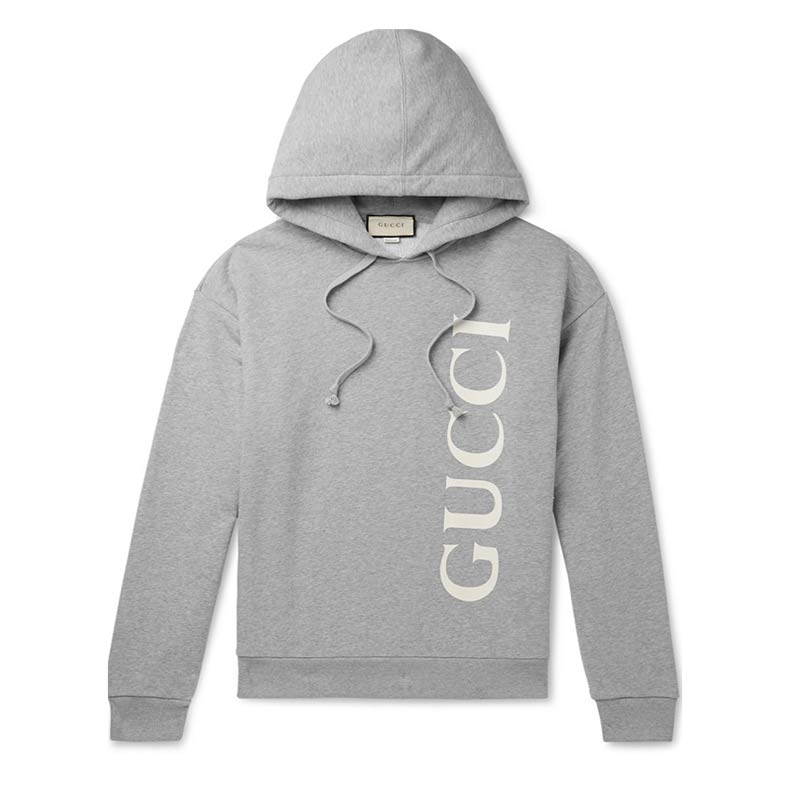 Gucci Logo Print Melange Loopback Cotton Jersey Hoodie, £870