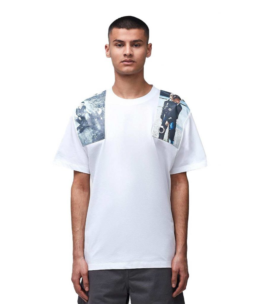 Fred Perry x Raf Simons Print Patch T-shirt in White, reduced from £89 to £55