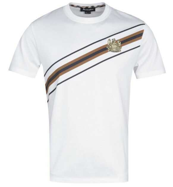 AQUASCUTUM Elgood Slash Stripe White T-Shirt