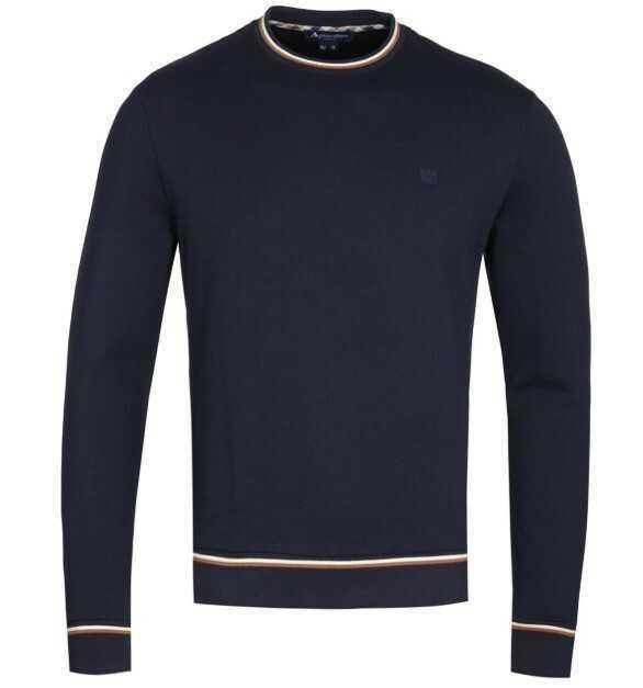 AQUASCUTUM Wallace Crew Neck Navy Sweatshirt