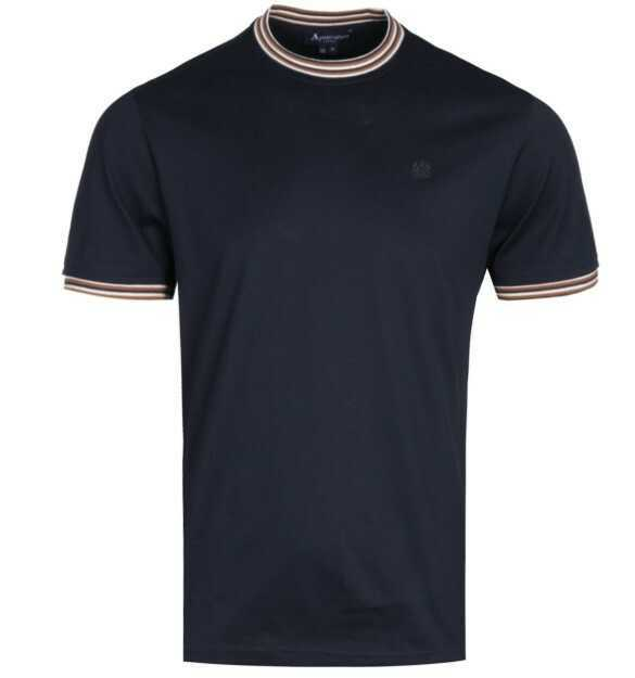 AQUASCUTUM Dorval Contrast Trim Navy T-Shirt