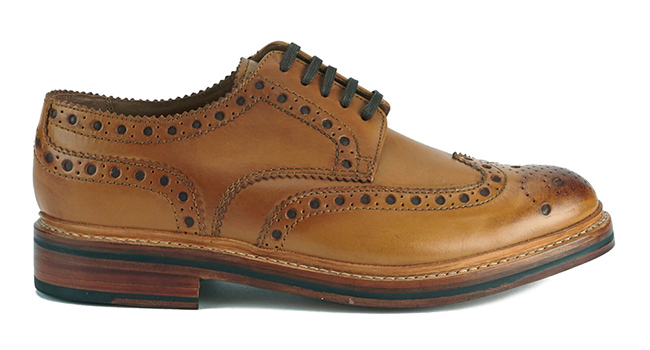 tan leather brogues by Grenson
