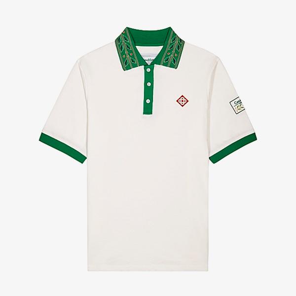 Casablanca White Pique Cotton Polo Shirt
