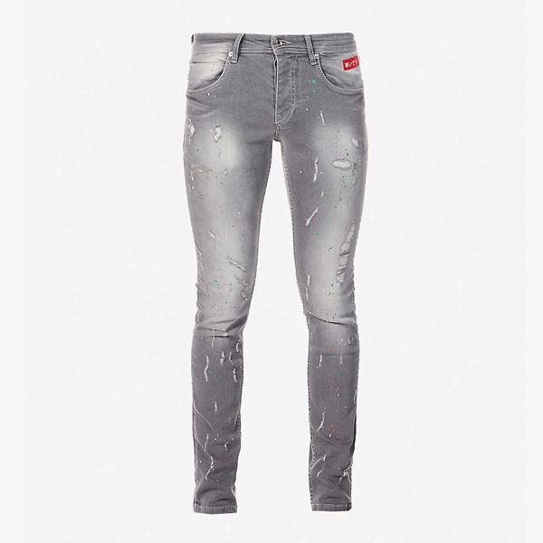 Inside Out Denim Paint Splash Slim-Fit Jeans