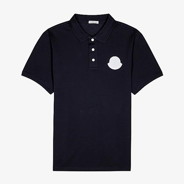 Moncler Navy Logo Pique Cotton Polo Shirt