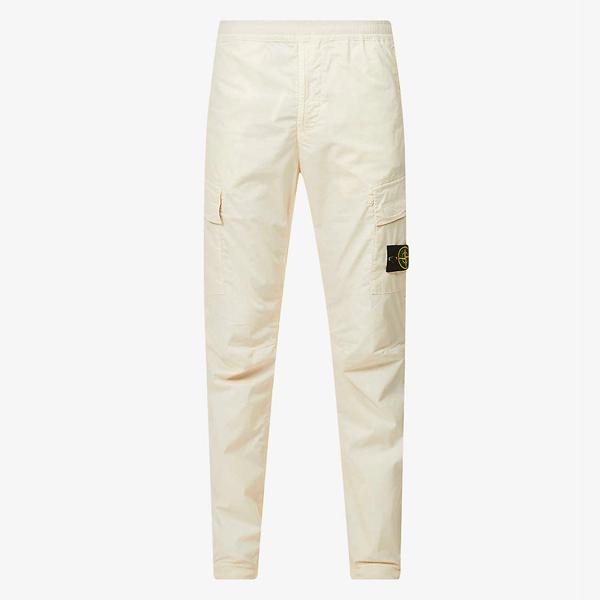 Stone Island Brand-Patch Slim Leg Stretch Cotton Trousers
