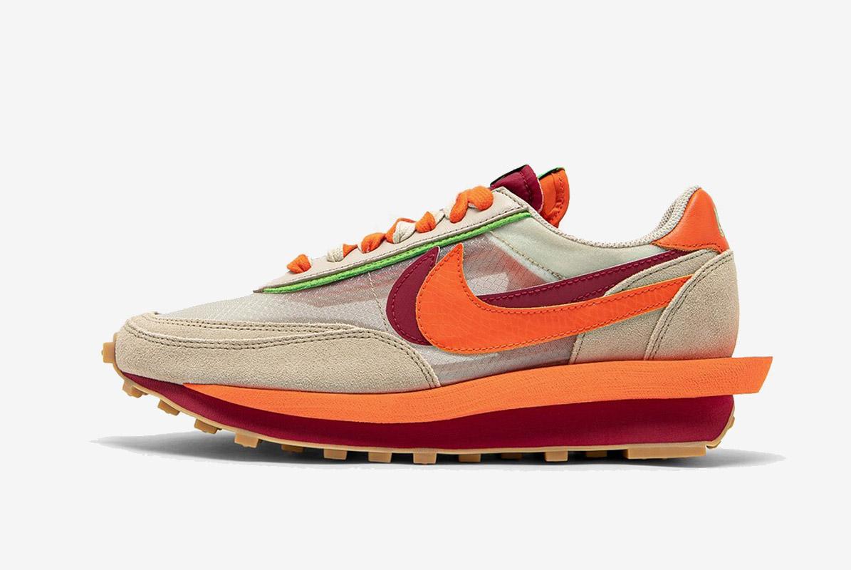 CLOT x sacai x Nike LDWaffle Net Orange Blaze